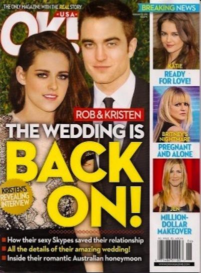 Robert Pattinson and Kristen Stewart Wedding Rumor